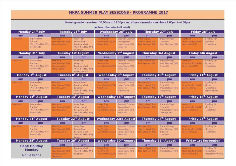 MKPA Timetable